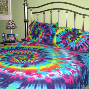 Sweet  Dreams - Sheet Set OR Duvet Cover Set - with matching  pillow cases - Organic Cotton - Tie Dye