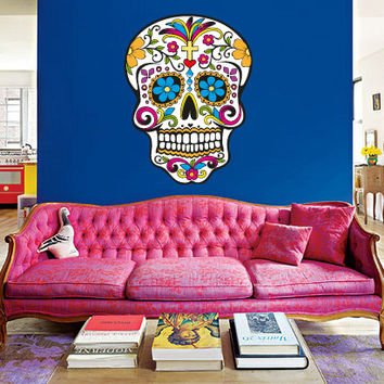 Full color Wall Decal Vinyl Sticker Decals Design Flowers Sugar Skulls Tattoo Face Gift Rock Horor Zombie Bedroom Halloween Dorm (rcol57)