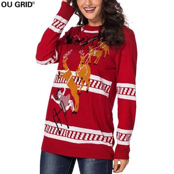 Women's Reindeer Knitted Ugly Christmas Sweater Xmas Pullover Jumpers