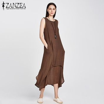 ZANZEA Fashion 2017 Womens Chinese Style Casual Loose Baggy Dress Cotton Linen Party Dresses Long Maxi Vestidos Plus Size