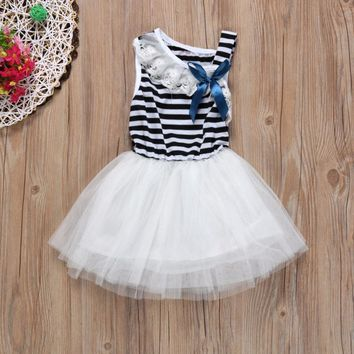 Baby Girls Dress Striped Clothing Bowknot Sleeveless Dress Princess Party Kids Clothes roupas infantis menina