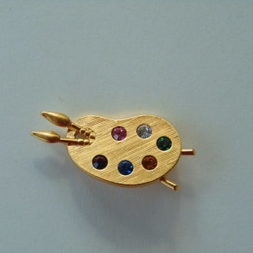 Painter's Artist Palette With 6 different colored Rhinestones Brooch Pin Lapel