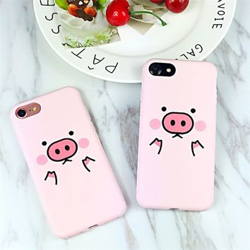 Cute Cartoon Pink Pig Cell Phone Case Teléfono Caso for iPhone 6 6s 7 8 Plus Creative Personality Cover Téléphone Cas for iPhone