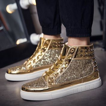 Rivets Skateboarding Shoes Bullock  Plein Shoes Gold Outdoor Sneakers Women Athletic Sport Shoes Chelsea Shoes Lace-up Sapatos