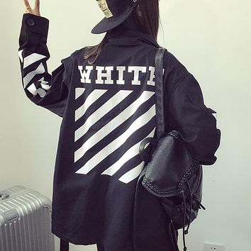 OFF-White Fashion Women Men Casual Print Lapel Cardigan Jacket Sports Coat Windbreaker Black