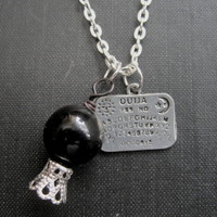 Gothic Ouija Board Black Crystal Ball Necklace