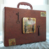 Makeup case steampunk vintage retro OOAK by HopscotchCouture