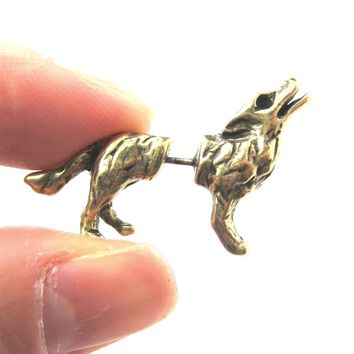 Fake Gauge Earrings: Realistic Wolf Fox Animal Shaped Plug Earrings in Brass