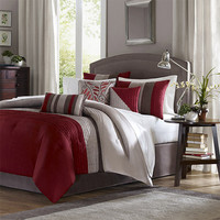 Madison Park MP10-038 Tradewinds Red Seven-Piece King Comforter Set - (In No Image Available)
