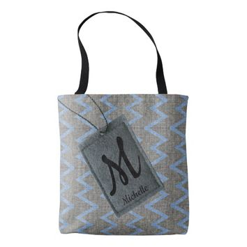 Custom tag family name monogram blue gray chevron tote bag