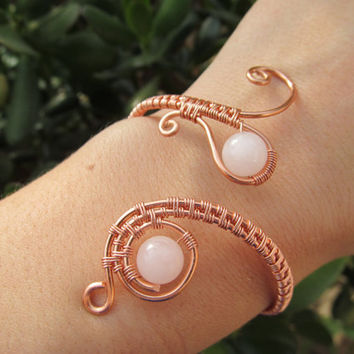 Rose Quartz Copper Wire Spiral Bracelet- Pink Crystal Beaded Wire Wrapped Coil Cuff Bangle- Handmade Gemstone Goddess Wedding Jewelry
