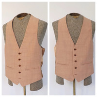"Vintage ""Pale Penny"" Vest 1970s Men's Ginger Salmon Pink Vest Suit Button up Vest Preppy Folk Boho Hipster Mad Men Wedding Prom Formal Vest"