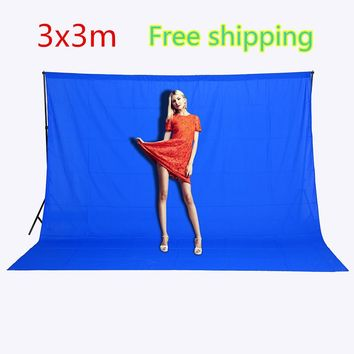 CY Free shipping 3mx3m Photography background Blue Photo Lighting Studio screen cotton Muslin photo Backgrounds image backdrop