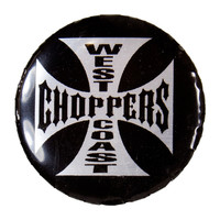 West Coast Choppers - White Cross Button