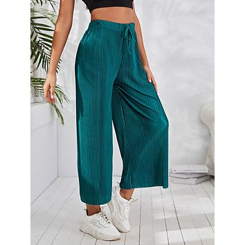 Drawstring Pleated Wide Leg Pants