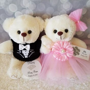 Flower Girl and Ring Bearer Teddy Bear Gift Set with two 9inch Cream Bears