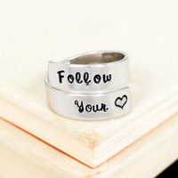Follow Your Heart Ring - Affirmation - Adjustable Aluminum Wrap Ring