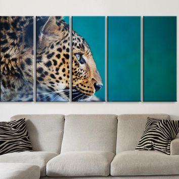 Large Wall Art Canvas Print Leopard Wild Animal Life for Home Decoration,Canvas Painting | Leopard Photo Print Canvas