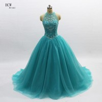 Royal Princess Quinceanera Dresses 2018 High Neck Open Back Beaded Crystal Tulle Sweet 16 Girls Quinceanera Dress Custom Made