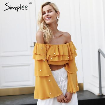 Simplee Off shoulder pearl sexy blouse shirt Ruffle long sleeve crop top women blouses Summer chiffon blouse female
