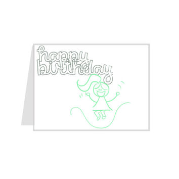 Happy Birthday // Little Girl Jumping Rope in Green // 5.5 x 4.25 inches // Homemade Greeting Card // For Kids & Adults - Fun, Youth, Silly