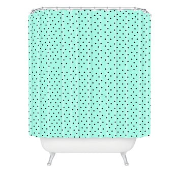 Allyson Johnson Minty Blue Polka Dots Shower Curtain
