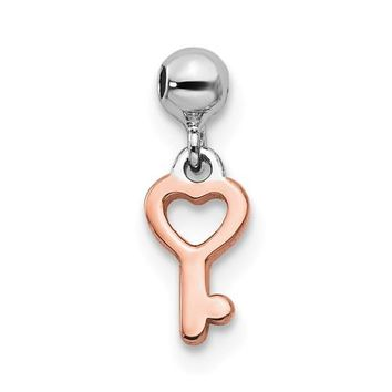 Sterling Silver Mio Memento Rhodium And Rose Tone Key Heart Charm