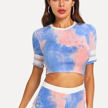 Tie Dye Print Top & Shorts PJ Set