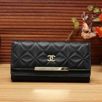 Perfect Chanel Women Leather Buckle Wallet Purse