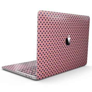 Navy Micro Hearts Over Coral Pattern - MacBook Pro with Touch Bar Skin Kit