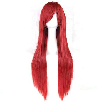 Soowee 24 Colors 80cm Long Straight Women Party Nature Red Black Hairpiece Heat Resistant Synthetic Hair Cosplay Wig