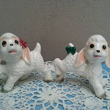 Vintage Sheep Salt And Pepper Shakers  Made in Japan Kitsch Lambs with Bows