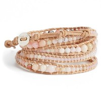 Women's Chan Luu Graduated Beaded Leather Wrap Bracelet - Beige/