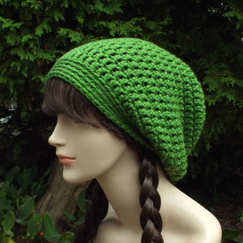 Basil Green Slouch Beanie - Womens Slouchy Crochet Hat - Oversized Slouchy Beanie - Baggy Beanie - Chunky Hat - Winter Slouchy Hat