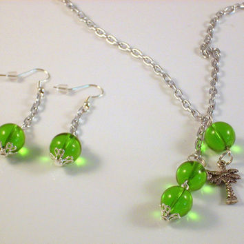 CUTE - A Link Necklace with Palm Tree Charm and Green Globes with Matching Earrings