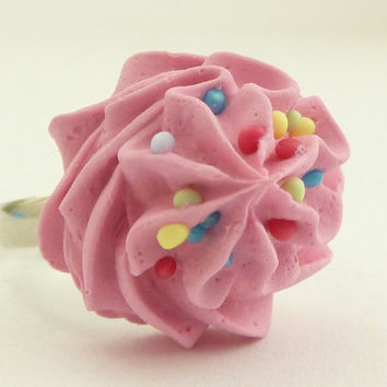 "The Bakers ring"" Oops frosting on my hand "" sweet pink cupcake  icing ring adjustable silver kawaii ring"
