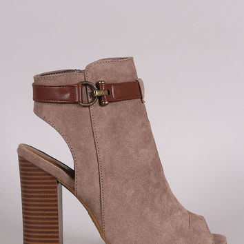 Bamboo Chic Peep Toe Buckled Booties
