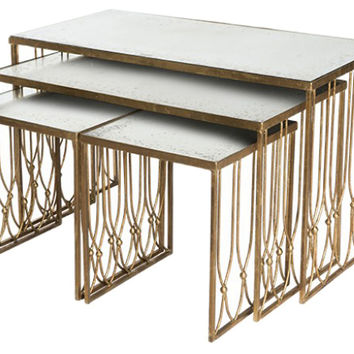 Gold Grubb Nested Coffee Table, Set of 4, Coffee Table Base, Sofa Table