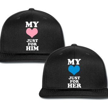 my heart just for her my heart just for him couple matching snapback cap