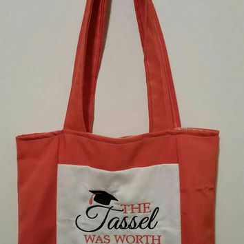 tote bag the tassel was worth the hassle  embroidered design reversible handmade graduation bag shopping bag reusable grocery bag