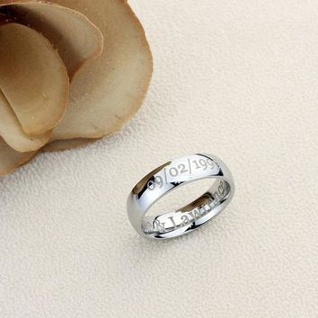 Personalized Outside Inside Custom Engraving Stainless Steel Wedding Band Promise Ring 6MM Polisheded Ring