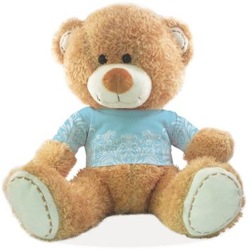 "Wedding Themed Teddy Bear - ""Something Blue"" - Blue scroll design"