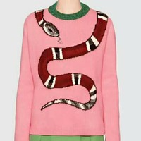 GUCCI Snake Fashion Women Sweet Long Sleeve Print Pink Knit Top Sweater