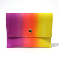 pouch wallet in sweetzero12- fluorescent purple, hot pink, and lemon yellow gradient airbrushed faux leather