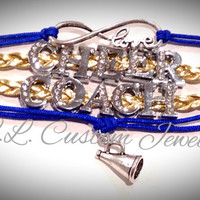 Infinity/Love CHEER COACH Rhinetone Suede/Leather Bracelet w/ Megaphone - Football, Dance, Hockey, Sport Mom, Music, sports