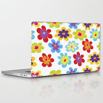 """Valentine's Day Gift HIGH QUALITY Laptop Skin for MacBook Air/ Pro/ Retina and PC Laptops 13"""" 15"""" 17"""" - Happy Colorful Floral Laptop Decal"""