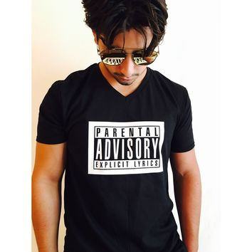 Parental Advisory Explicit Lyrics Men T Shirt Black