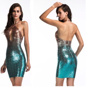 Sexy color sequin dress