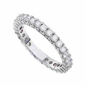 14kt White Gold Womens Round Pave-set Diamond Eternity Wedding Anniversary Band 1/2 Cttw