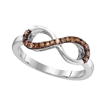 10kt White Gold Women's Round Brown Color Enhanced Diamond Infinity Ring 1/5 Cttw - FREE Shipping (US/CAN)